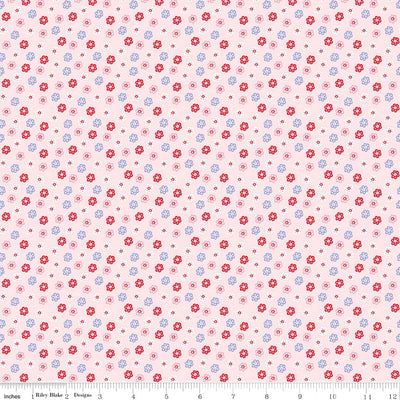 Princess Floral Pink Cotton Lycra Knit Fabric by Riley Blake