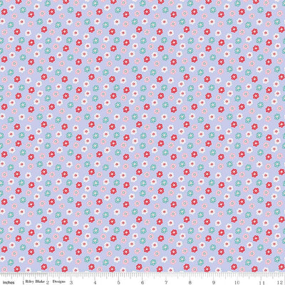 Princess Floral Purple Cotton Lycra Knit Fabric by Riley Blake