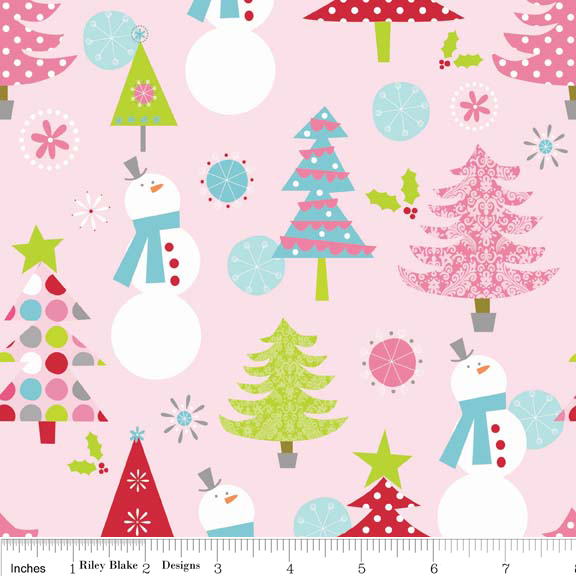 Christmas Main Pink Cotton Lycra Knit Fabric by Riley Blake