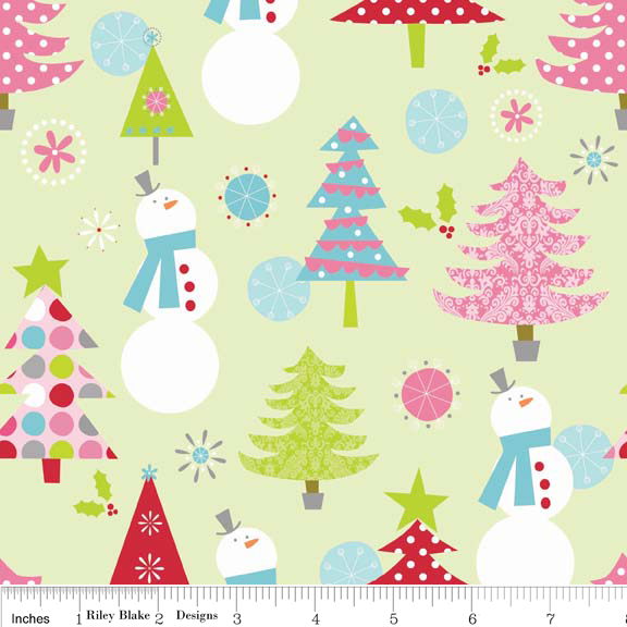 Christmas Main Lime Cotton Lycra Knit Fabric by Riley Blake