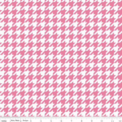 Pink Houndstooth on White Cotton Lycra Knit Fabric by Riley Blake