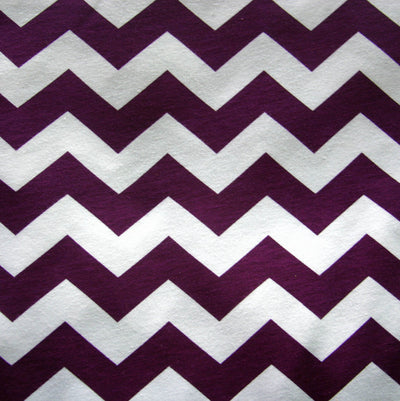 Plum Chevrons on White Jersey Knit Fabric