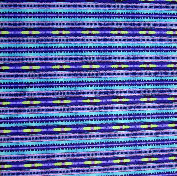 Purple, Aqua, Lime Abstract Stripe Nylon Lycra Swimsuit Fabric
