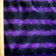 Purple and Black Stripes with Bats Cotton Knit Fabric