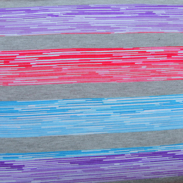 Purple, Blue, and Red Variegated Stripes Knit Fabric