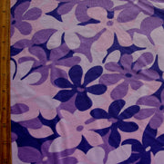 Purple Floral Cotton Knit Fabric