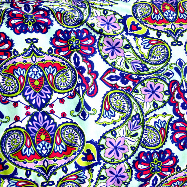Purple, Fuschia, and Lime Paisley on Mint Nylon Lycra Swimsuit Fabric