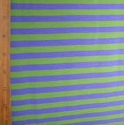 "Light Purple and Lime 3/8"" wide Stripe Cotton Lycra Knit Fabric"