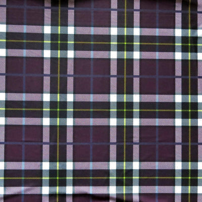Purple, Navy, Yellow Plaid Poly Spandex Swimsuit Fabric
