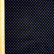 Purple Pindots on Black Cotton Lycra Knit Fabric by Anita G