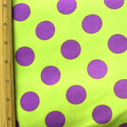 Purple Polka on Lime Knit Fabric