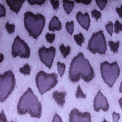 "Purple Sparkle Hearts Cotton Lycra Knit Fabric - 1 yard 24"" inches"