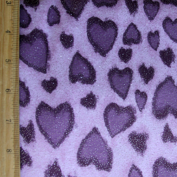 Purple Sparkle Hearts Cotton Lycra Knit Fabric