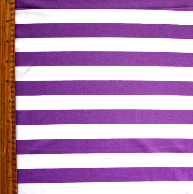 Purple and White 3/4 inch Stripe Nylon Lycra Swimsuit Fabric