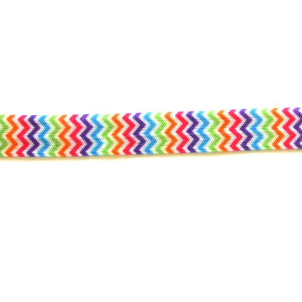Rainbow Chevron Fold Over Elastic Trim