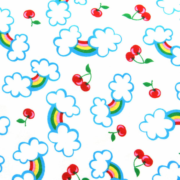Rainbows and Cherries Cotton Knit Fabric