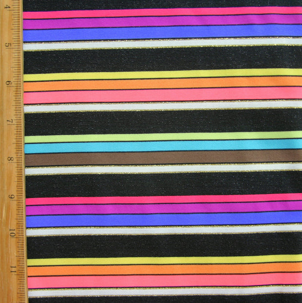 "Pop Rainbow Stripes Swimsuit Fabric - 1 yard 9"" inch Remnant Piece"