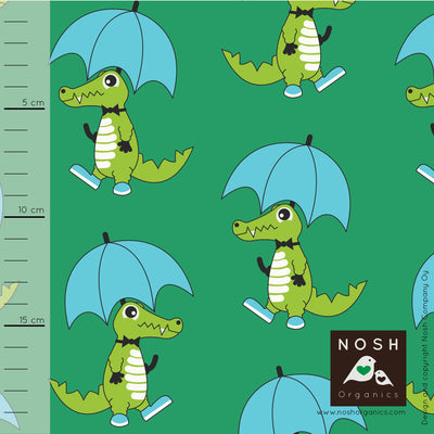 Rainy Day Organic Cotton Lycra Knit Fabric by Nosh Organics, Croco Green Colorway