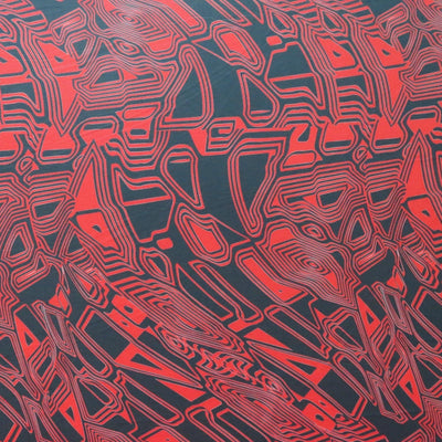 Red and Black Abstract Nylon Spandex Swimsuit Fabric