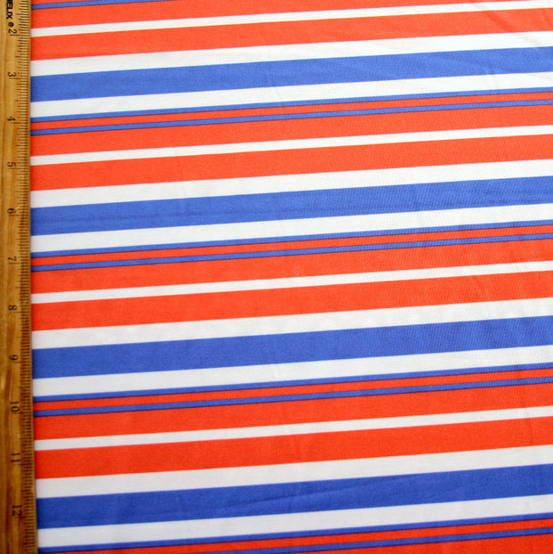 Red, Blue, and White Stripe Nylon Lycra Swimsuit Fabric