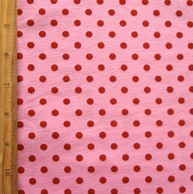 Red Aspirin Polka Dots on Pink Cotton Lycra Knit Fabric - SECONDS - Not Quite Perfect