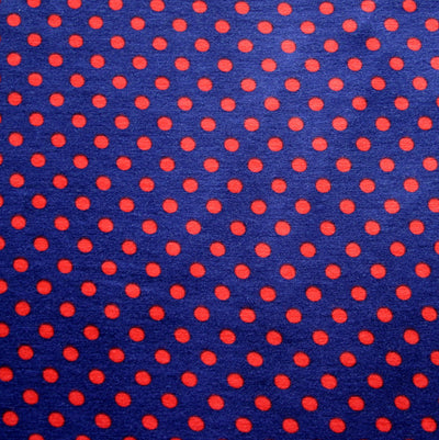 Red Eraser Polka Dots on Navy Rayon Lycra Knit Fabric