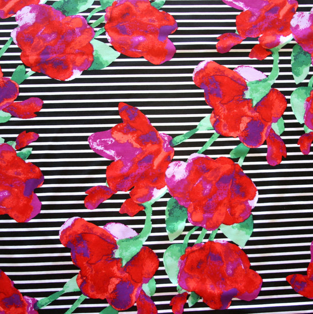 Red/Fuschia Flowers on Black and White Stripe Nylon Lycra Swimsuit Fabric