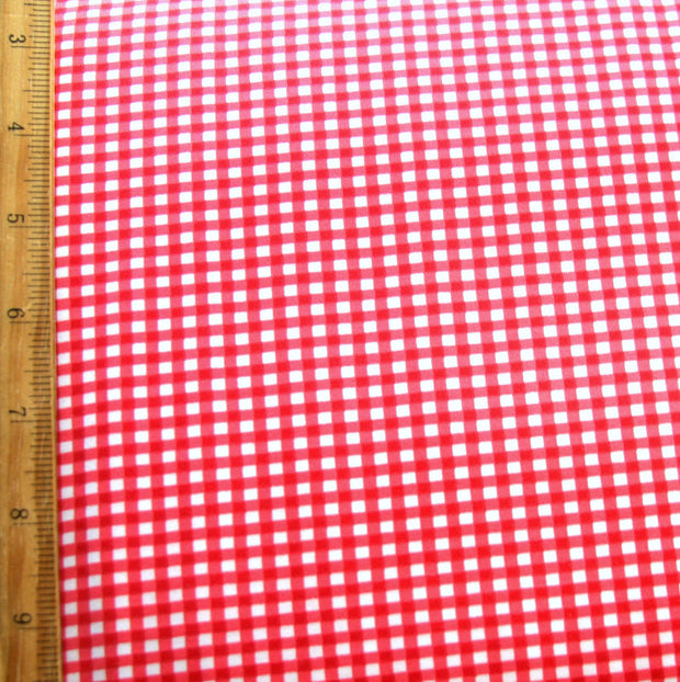Red and White Gingham Nylon Lycra Swimsuit Fabric