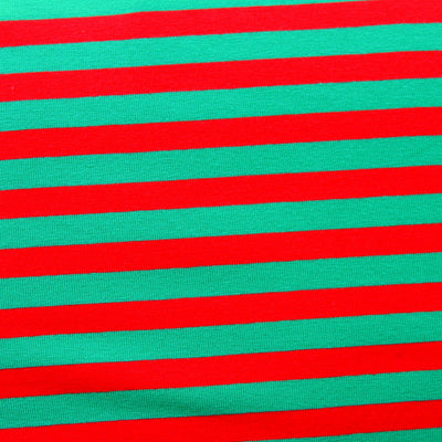 "Red and Green 3/8"" Stripe Cotton Lycra Knit Fabric"