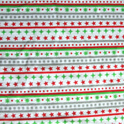 Red, Green, and Silver Christmas Stripe Cotton Knit Fabric