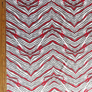 Red, Gray, and White Zebra Nylon Spandex Swimsuit Fabric