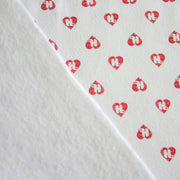 Red Mini HJ Hearts on White Cotton Fleece Fabric