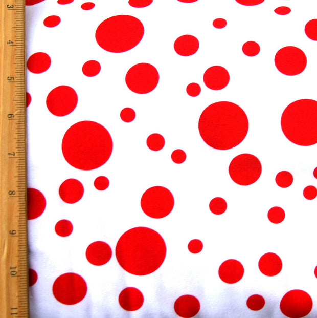 Red Multidots on White Cotton Lycra Knit Fabric