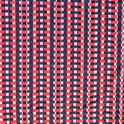 Red/Navy Checkers Stretch Woven Fabric