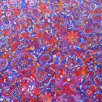 Red/Orange Paisley on Purple Nylon Spandex Swimsuit Fabric