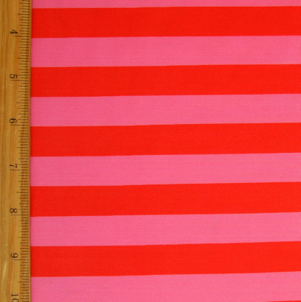 "Red and Pink Stripe Nylon Lycra Swimsuit Fabric - 23"" Remnant Piece"