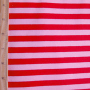"Red/Light Pink 3/8"" Stripe Cotton Lycra Knit Fabric - 20"" Remnant Piece"