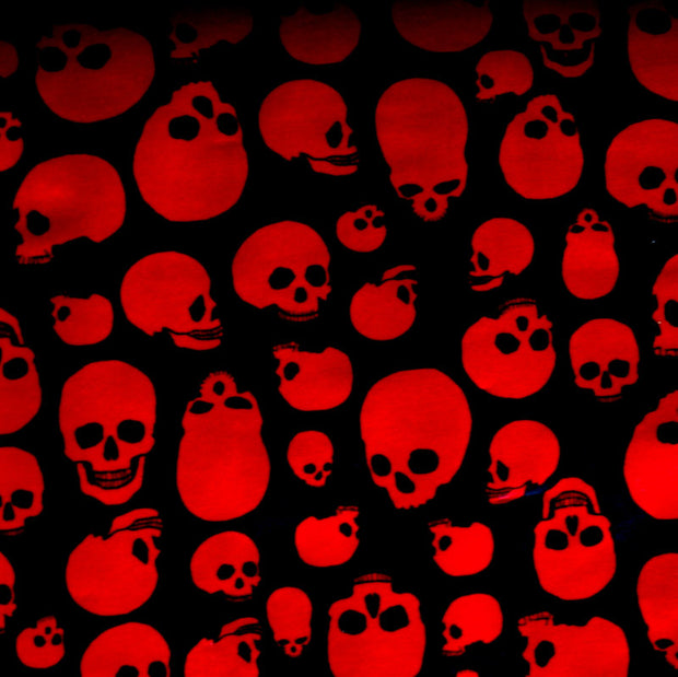 Red Skulls on Black Nylon Lycra Swimsuit Fabric