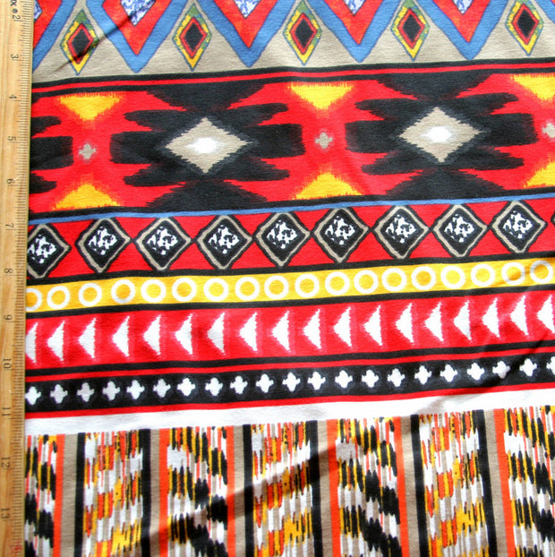 Red, Yellow, and Blue Aztec Stripes Cotton Knit Fabric