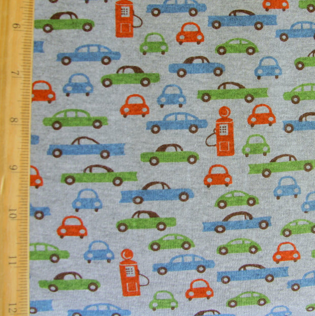 Retro Cars and Pumps on Heathered Grey Cotton Knit Fabric