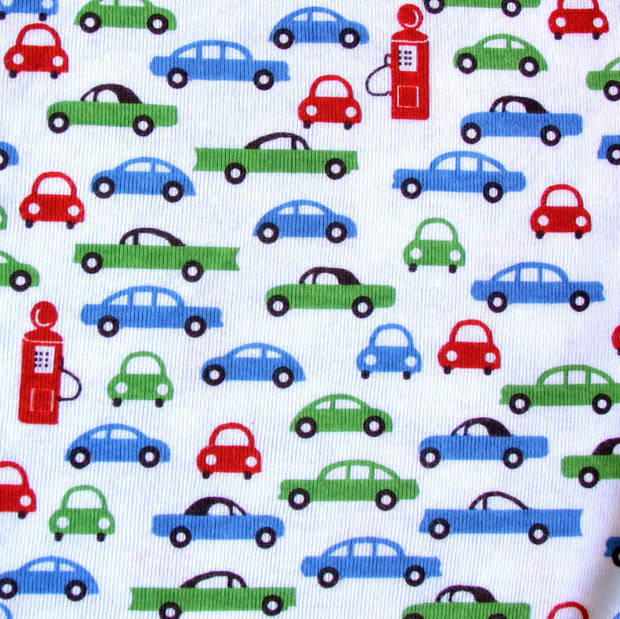 "Retro Cars and Pumps on White Cotton Knit Fabric - 20"" Remnant Piece"