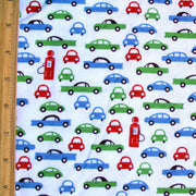 Retro Cars and Pumps on White Cotton Knit Fabric