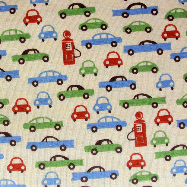 Retro Cars and Pumps on Yellow Cotton Knit Fabric - 15 Yard Bolt