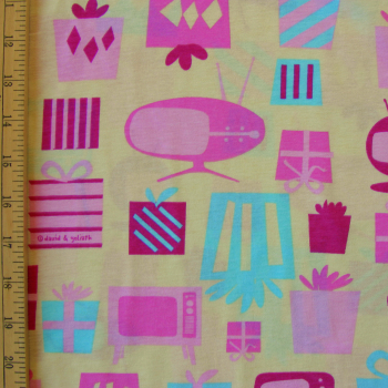 "Retro T.V.'s and Presents Cotton Knit Fabric by David & Goliath - 27"" Remnant Piece"
