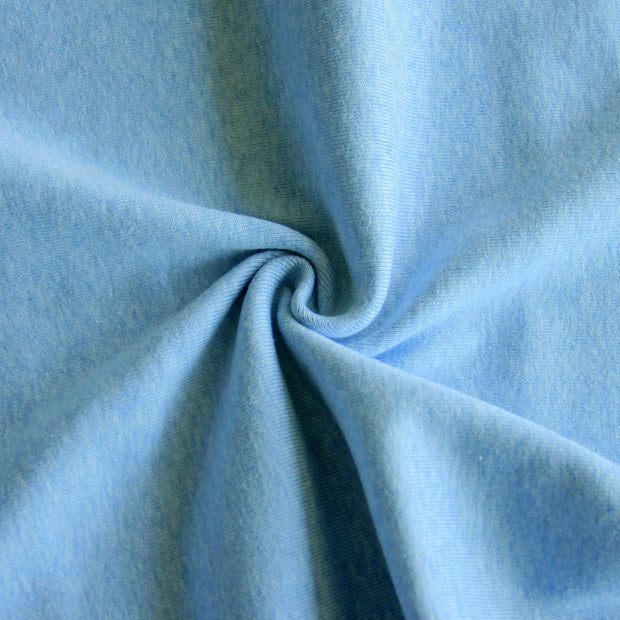 Heathered Blue Cotton Rib Knit Fabric
