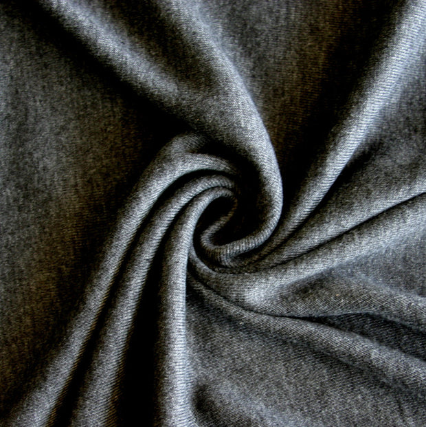 Heathered Charcoal Cotton Rib Knit Fabric