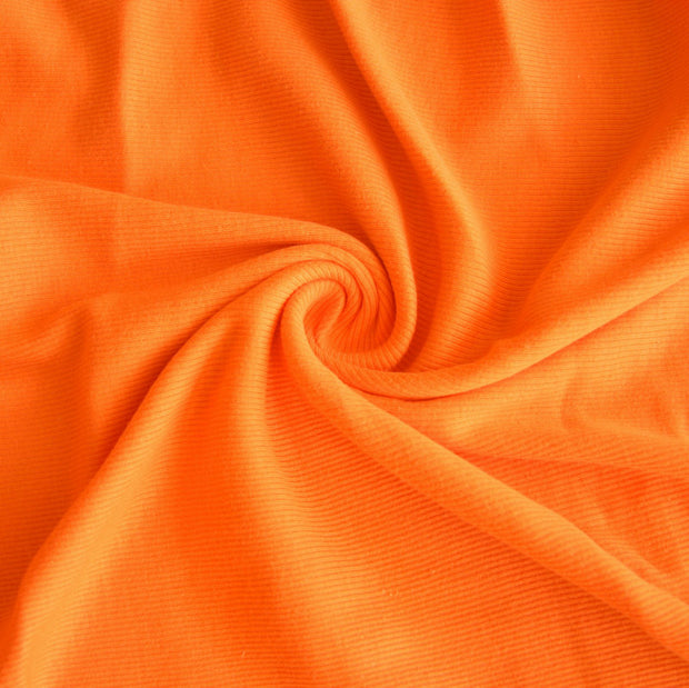Hunter Orange 2x1 Cotton Rib Knit Fabric
