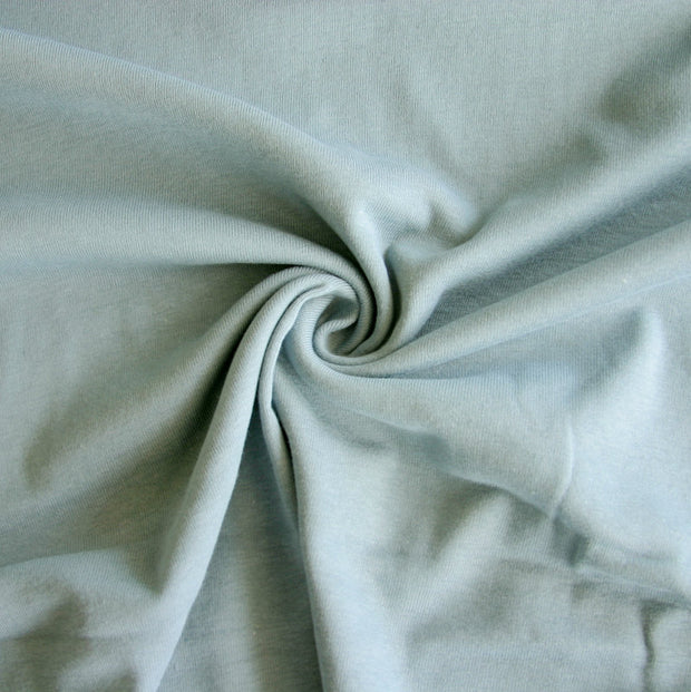 Light Steel Blue Cotton Rib Knit Fabric