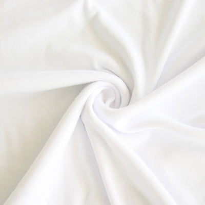 Bright White Cotton Baby Rib Knit Fabric