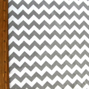 Small Chevron Grey and White Cotton Lycra Knit Fabric by Riley Blake